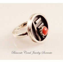 """""""Scudo"""" Red Coral Ring"""