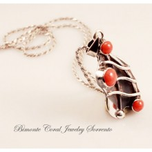 """Leaf"" Red Italian Coral Necklace"