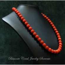 """From 8 mm to 9 mm"" Red Italian Coral Necklace"