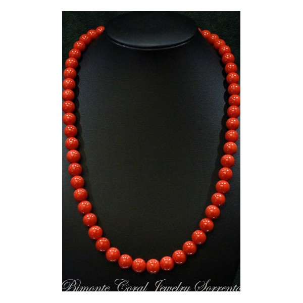 u0026quot from 8 mm to 9 mm u0026quot  red italian coral necklace