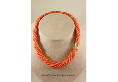 Pink Coral Rope Necklace