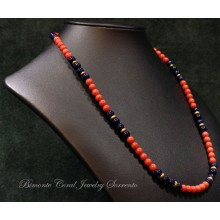 """""""Red and Blue"""" Coral and Lapis Lazuli Necklace"""