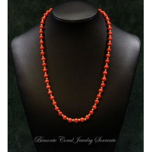 """Red and Gold"" Coral Necklace"