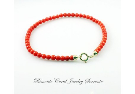 3,5 / 4 mm Red Italian Coral Bracelet
