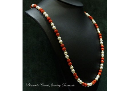 """""""Dione"""" Coral and Pearls Necklace"""