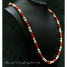 """Dione"" Coral and Pearls Necklace"