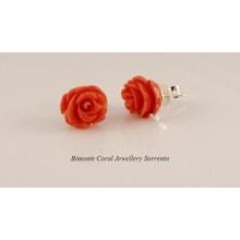 Roses Coral Earrings in Sterling Silver