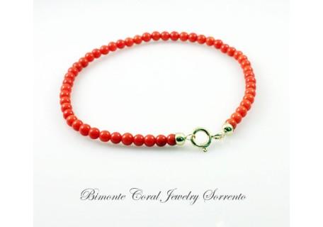 3 mm Red Italian Coral Bracelet