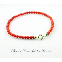 3 mm Red Italian Coral Bracelet
