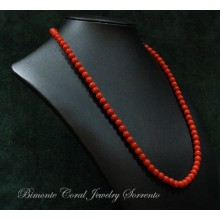 6,1/4 - 7 mm Red Italian Coral Necklace