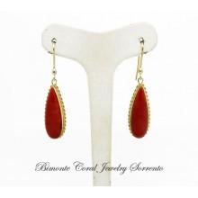"""Goccia"" Red Coral Earrings"