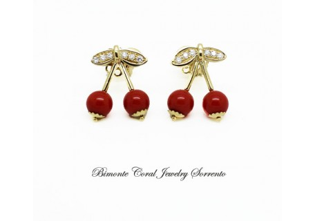 """Cherries"" Red Coral and Diamond Earrings"