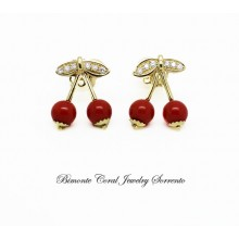 """""""Cherries"""" Red Coral and Diamond Earrings"""
