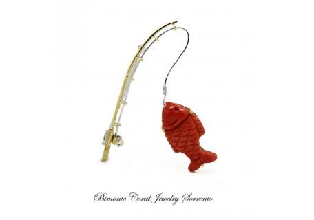 """Fishing"" Coral Brooch"