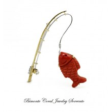 """Fishing"" Coral Brooch"