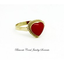 """""""Heart"""" Red Italian Coral Ring"""
