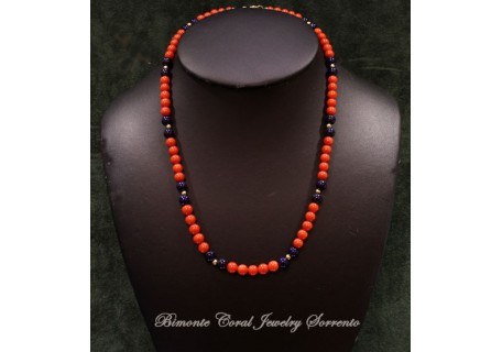 """""""Layla"""" Coral and Lapis Necklace"""
