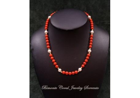 """Dalmare"" Coral and Pearls Necklace"