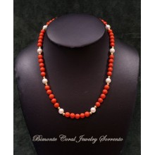 """Dalmare"" Coral and Pearls Necklace"