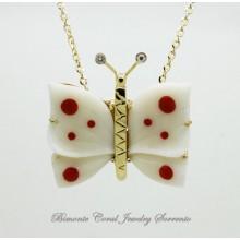 """Papillon"" White Coral Necklace"
