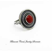 """Etrusca"" Red Italian Coral Ring"