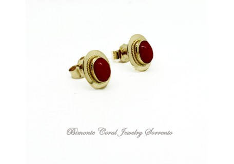 """""""Tiny"""" Red Italian Coral Earrings"""