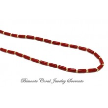 """""""Santi"""" Red Coral and Gold Necklace"""