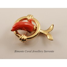 Dolphin Coral Brooch