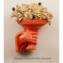 """Baccus Cup"" Coral Brooch"