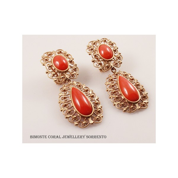 Filigree Work Coral Earrings The Coral Jewelry Sorrento