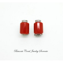 """Square"" Red Coral Earrings"