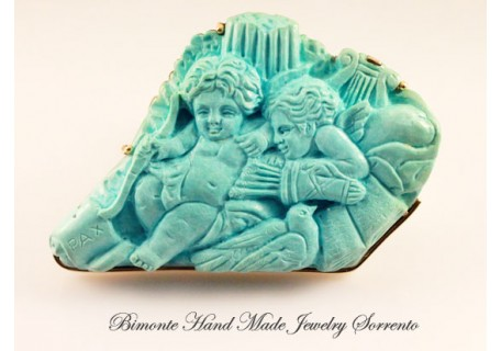"""""""Pace e Amore"""" Torquoise Stone Brooch"""