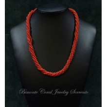 """""""Torchon"""" Red Italian Coral Necklace"""