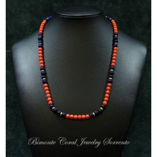 """""""Blue and Red"""" Coral Necklace"""