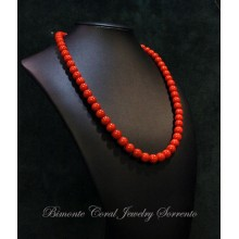 7,5 / 8 mm Red Italian Coral Necklace
