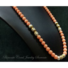 """""""Suave"""" Coral and Pearls Necklace"""