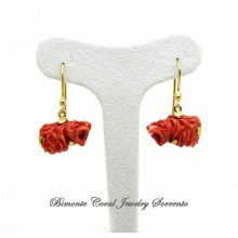 """Lions"" Red Coral Earrings"