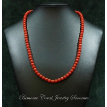 7 mm Red Italian Coral Necklace