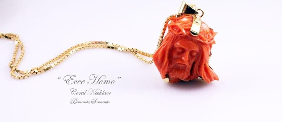 Coral jewelry sorrento handmade coral jewels sorrento coral ecce homo coral necklace mozeypictures Image collections